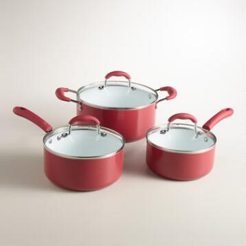 Red Nonstick Ceramic Cookware Set, 6-Piece